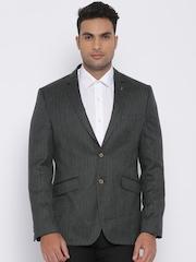 Van Heusen Charcoal Grey Woollen Slim Fit Single-Breasted Formal Blazer