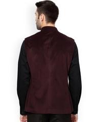 Van Heusen Maroon Slim Fit Nehru Jacket