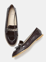 Mast & Harbour Women Brown Textured Tassel Loafers