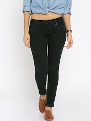 ONLY Women Green Solid Skinny Fit Flat-Front Corduroy Trousers