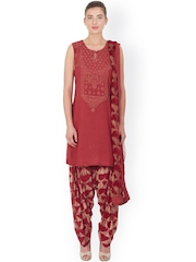 Ritu Kumar Maroon Embroidered & Printed Salwar Suit with Dupatta