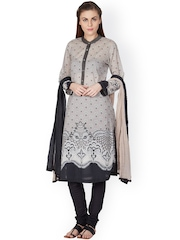 Ritu Kumar Grey & Black Printed Churidar Kurta with Dupatta