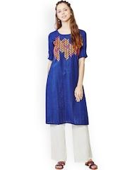 Global Desi Blue Embroidered Kurta