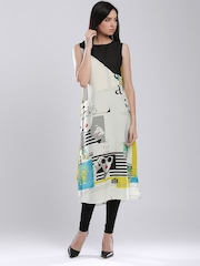 W White Printed Colourblocked Polyester Kurta