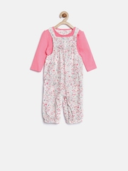mothercare Girls White & Pink Floral Print Dungarees with Romper