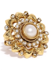 Fida Gold-Toned Floral Beaded Ring