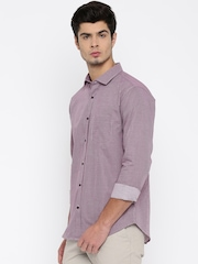 Basics Red & Navy Checked Slim Fit Casual Shirt