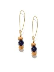Fabindia Girls Gold-Toned & Navy Drop Earrings