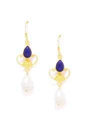 Fabindia Anusuya Gold-Toned & Off-White Silver Drop Earrings