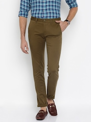 Peter England Casuals Brown Super-Slim Chino Trousers