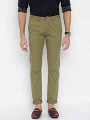 Peter England Casuals Olive Green Super-Slim Chino Trousers