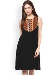 Style Stone Orange & Black Printed Georgette A-Line Dress