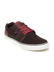 DC Men Brown & Burgundy Colourblocked Suede Sneakers