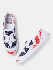 Kook N Keech Marvel Unisex White & Blue Printed Slip-Ons