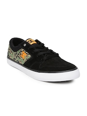 DC Men Black Suede Argosy Vulc Skateboard Casual Shoes with Printed Detail