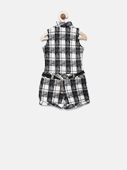 Tiny Girls Black & Off-White Checked Playsuit