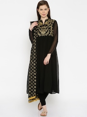 IMARA by Shraddha Kapoor Black Embroidered Churidar Kurta with Dupatta