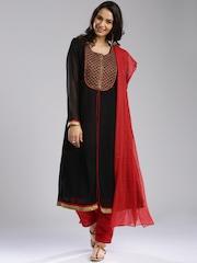 IMARA by Shraddha Kapoor Black & Red Layered Churidar Kurta with Dupatta