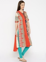 IMARA by Shraddha Kapoor Multicoloured Printed Churidar Kurta with Dupatta