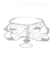 Pipa Bella Oxidised Silver-Toned Multistranded Anklet