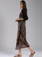 IMARA Women Black & Maroon Printed Maxi Dress