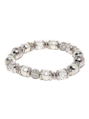 Accessorize Silver-Toned & White Bracelet