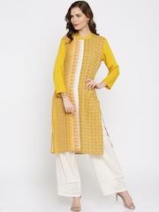 IMARA by Shraddha Kapoor Women Yellow Printed Straight LIVA Kurta