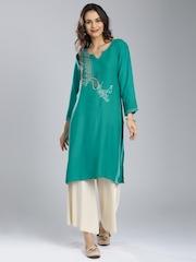 IMARA by Shraddha Kapoor Women Green Printed A-Line Kurta