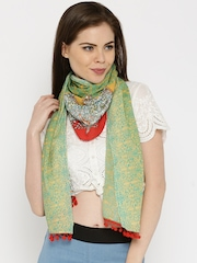 IMARA by Shraddha Kapoor Green & Red Printed Stole