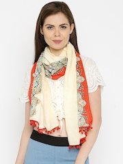 IMARA by Shraddha Kapoor Cream-Coloured & Red Printed Stole