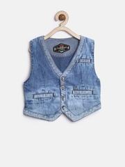 GJ Unltd Jeans by Gini & Jony Boys Blue Washed Denim Waistcoat