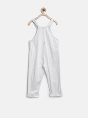 Gini & Jony Girls Grey Melange Jumpsuit with Appliques