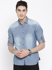 Numero Uno Blue Washed Patterned Denim Shirt