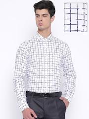 Black Coffee Men White & Navy Checked Slim Fit Formal Shirt