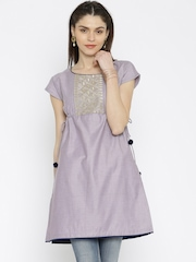 Anouk Women Lavender Embroidered A-Line Kurti