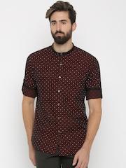 Black Coffee Burgundy Polka Dot Print Slim Fit Formal Shirt