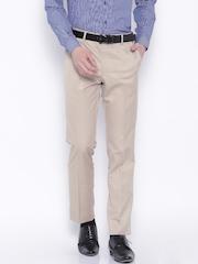 Black Coffee Men Beige Regular Fit Flat Front trousers