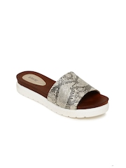 Lavie Women Muted Gold-Toned Printed Flatforms