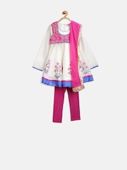 BIBA Girls White & Pink Salwar Suit with Dupatta