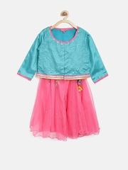 BIBA Girls Pink & Teal Green Lehenga Choli