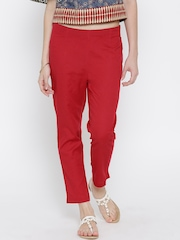 Aurelia Red Ankle-Length Casual Trousers