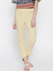 Aurelia Cream-Coloured Cropped Casual Trousers