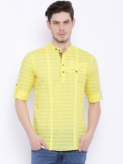 Freehand Men Yellow  Checked Slim Fit Short Kurta