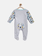 mothercare Girls Grey Melange Floral Print Sleepsuit with Applique