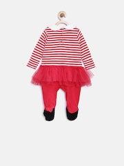 mothercare Girls Red Striped Net Sleepsuit with Cap