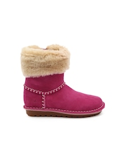Clarks Girls Pink Suede Boots