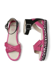 Clarks Girls Pink & Black Leather Flats