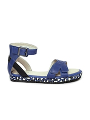 Clarks Girls Blue Leather Sandals