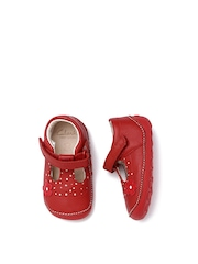 Clarks Girls Red Printed Leather Little Linzi Mary Janes