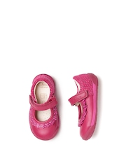 Clarks Girls Pink Printed Leather Mary Janes